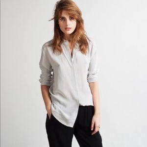 Light grey Everlane silk round collar shirt medium